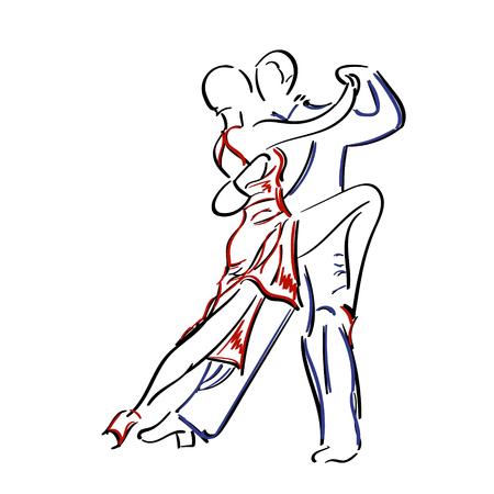 Sketchy, von Hand gezeichnete Paar tanzt Tango isoliert auf weißem Hintergrund. Illustration
