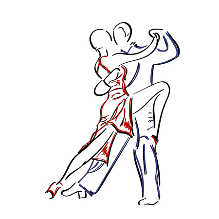 Sketchy, hand-drawn couple dancing tango isolated on white background.