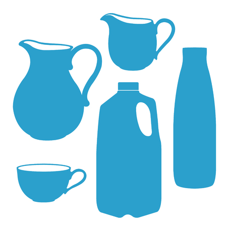 pitcher: Milk logo in a blue and white. Milk bottle, pitcher, jug, canister. Milk pitcher vector illustration. Illustration