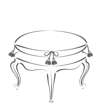 chateau: Elegant sketched stool banquette.  Stock Photo