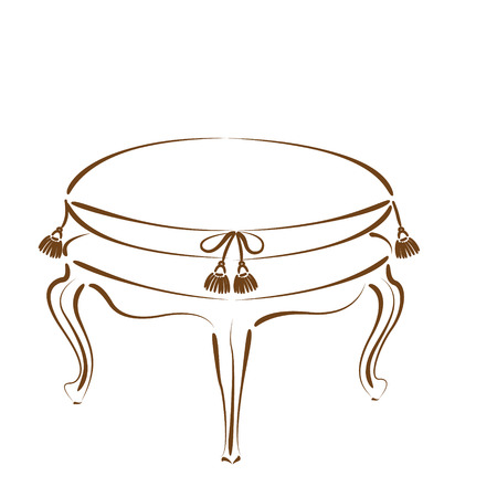 stool: Elegant sketched stool banquette. Illustration
