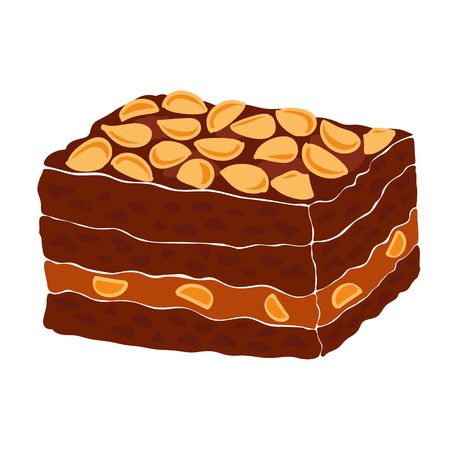 fudge: Piece of a classic chocolate brownie with nuts and caramel. Brownie vector illustration. Illustration