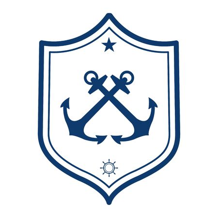 nautical: Nautical label. Anchor icon. Can be used for a yacht club logo. Illustration