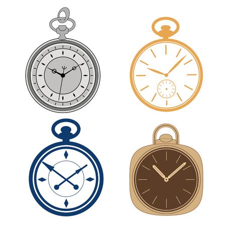 pocket: Pocket watch set isolated on white background. Vector illustration.