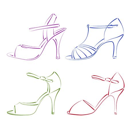 Conjunto de zapatos de mujer de boceto. Ilustración del vector.
