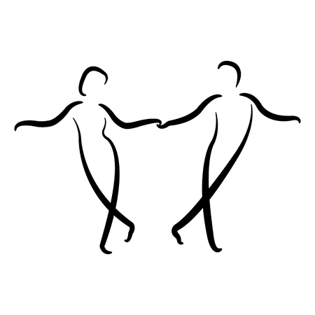 Dancing couple icon isolated on white background. Swing dance. Vector.