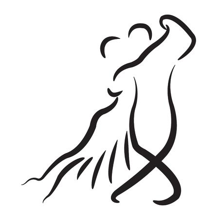 ダンス カップル アイコンは、白い背景で隔離。アルゼンチン タンゴ。タンゴ ダンサーはベクトル イラストです。