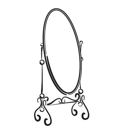 Big standing mirror. Vintage interior. Sketch mirror illustration isolated on white background. Standing mirror vector illustration. Illustration
