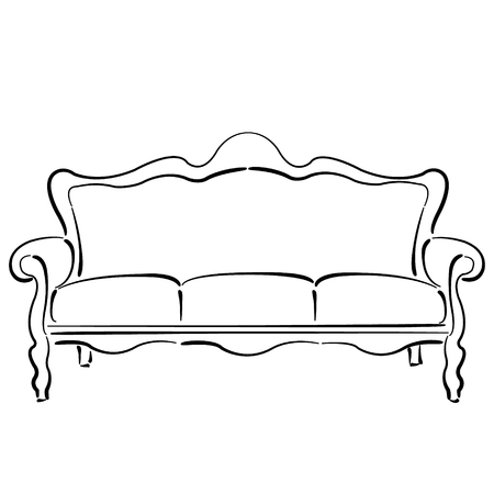 couch: Sketched sofa couch. Couch sketch vector illustration.