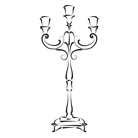 candle holder: Sketched candle holder. Vector candle holder illustration.