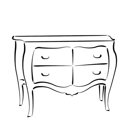 console table: Sketched chest of drawers isolated on white background. Chest of drawers vector illustration. Illustration