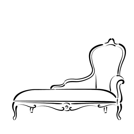 daybed: Sketched sofa couch daybed isolated on white background. Sofa couch daybed vector illustration.