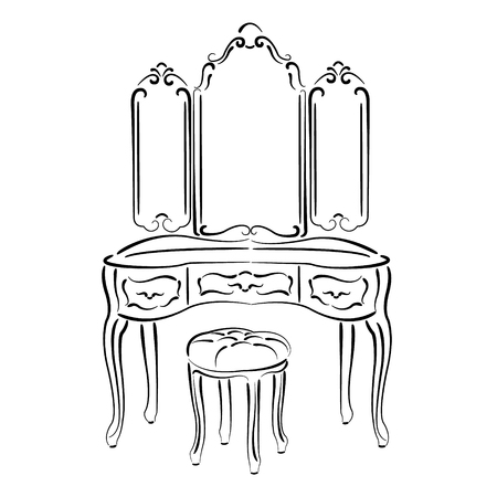 padded stool: Sketched retro dressing console, pier-glass, dressing table isolated on white background. Vector. Illustration