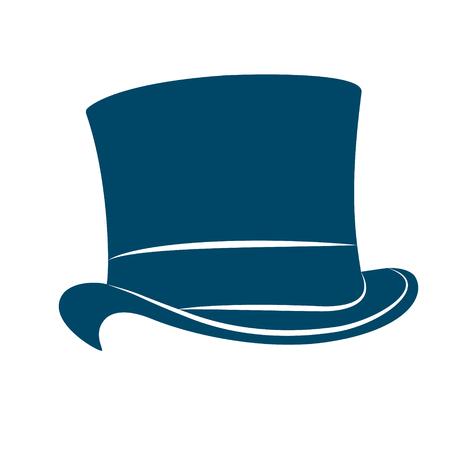 man s: Vintage man s top hat label. Top hat vector illustration.