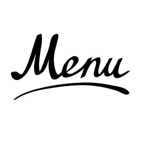 Hand Written Word Menu, Handmade Brush Lettering. Vector ...