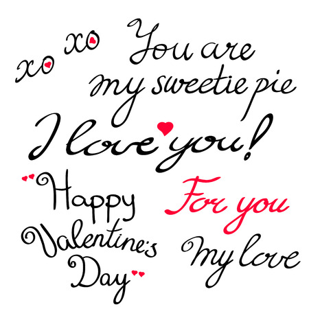 saint valentine s day: Valentine s Day lettering collection. Set of Valentine s calligraphic headlines with hearts for love letters and cards. Vector illustration. Illustration