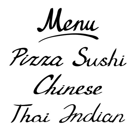 headline: Menu headline, handmade lettering. Handwritten words - pizza and sushi. Chinese, thai and indian. Modern brush lettering. Vector illustration.