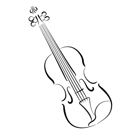 Sketched violin isolated on white background. Violin vector illustration.