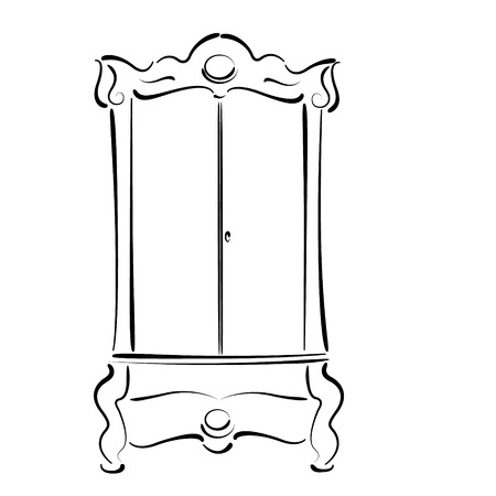 Sketched vintage wardrobe isolated on white background. Vintage closet vector illustration.