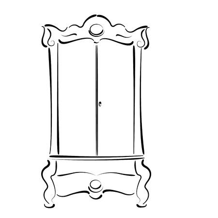 wardrobe closet: Sketched vintage wardrobe isolated on white background. Vintage closet vector illustration.