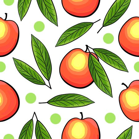 Seamless peach pattern on white background with green dots. Vector illustration of peach with leaves.