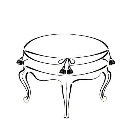 stool: Elegant sketched stool banquette. Stool vector illustration.
