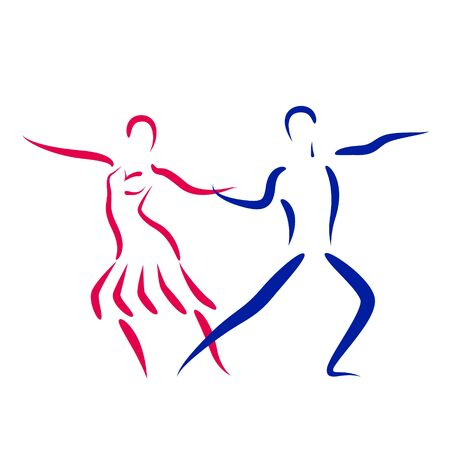 bailarines silueta: Dancing couple logo isolated on white background. Dancing couple silhouette. Dancers vector illustration.
