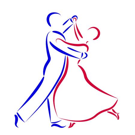 ダンス カップル ロゴは白い背景に分離されました。ダンス カップルのシルエットです。ワルツ ダンサーはベクトル イラストです。  イラスト・ベクター素材