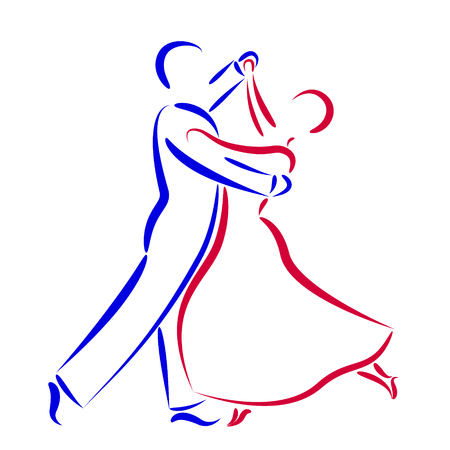 Dancing couple logo isolated on white background. Dancing couple silhouette. Waltz dancers vector illustration.