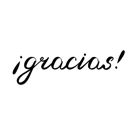 그레시아. 스페인어, 브러시 핸드 레터링에 감사드립니다. 브러쉬 서예. 스페인어로 필기 단어.
