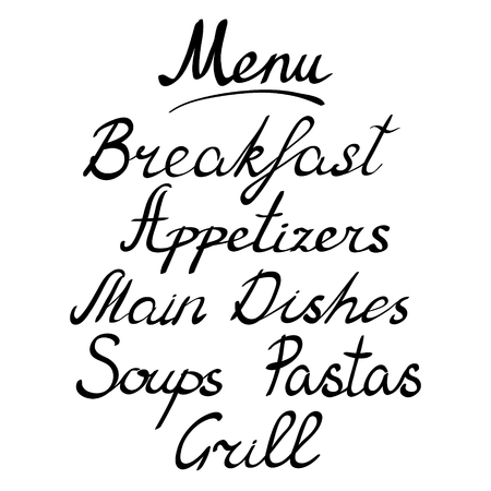 appetizers: Breakfast and appetizers and  main dishes. Soups and pastas and grill. Vector illustration. Illustration