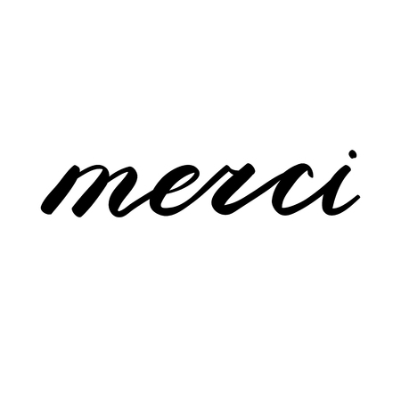 merci: Merci, thank you in French. Brush hand lettering. Brush calligraphy. Handwritten word in French.