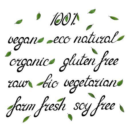 embellished: Handwritten words organic eco natural vegan raw bio vegetarian embellished with green leaves.