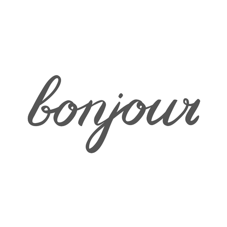 bonjour: Handwritten word bonjour. Good day in French. Great for greeting card, posters or banners. Bonjour brush lettering.
