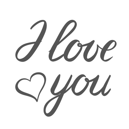 upmarket: I love you handwritten illustration, hand made brush lettering isolated on white background. Stock Photo