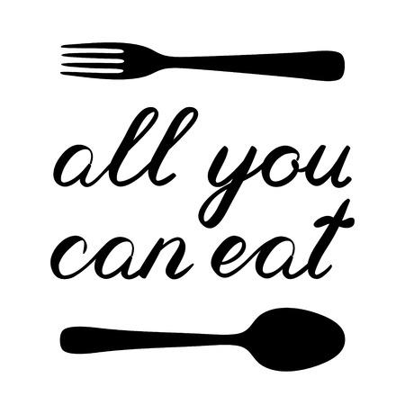 手書きイラストを食べることができるすべてのフォークおよびスプーンとブラシを行ったレタリングを手します。かわいい手書きは、グリーティン