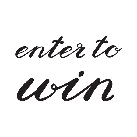 Enter to win. Giveaway banner for social media contests and promotions. Cute handwriting, can be used for greeting cards, scrapbooks, photo overlays and more. Ilustração