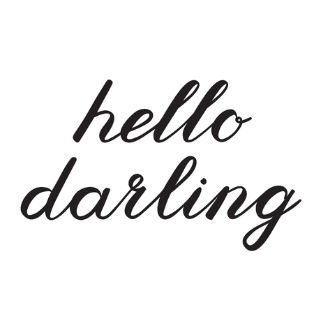 darling: Hello darling brush lettering. Cute handwriting, can be used for greeting cards, scrapbooks, photo overlays and more. Illustration