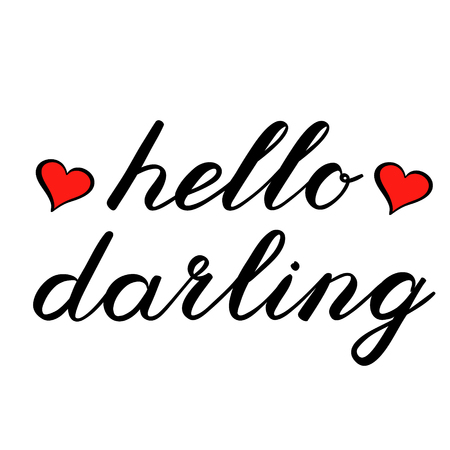 Hello darling brush lettering decorated with hearts. Cute handwriting, can be used for greeting cards, scrapbooks, photo overlays and more. Illustration