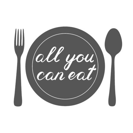 overlays: All you can eat handwritten illustration, hand made brush lettering with a plate, fork and spoon. Cute handwriting, can be used for greeting cards, scrapbooks, photo overlays and more. Stock Photo
