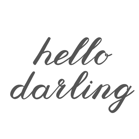 darling: Hello darling brush lettering. Cute handwriting, can be used for greeting cards, scrapbooks, photo overlays and more. Stock Photo