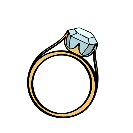 a precious: Wedding or engagement ring with a big precious stone illustration.