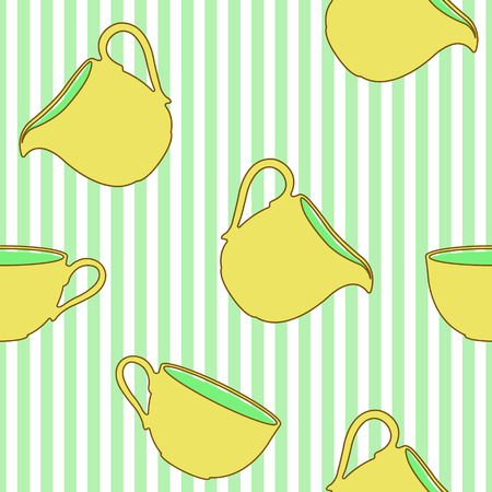 pitcher's: Tea cups and milk pitchers seamless pattern on striped background. Vector illustration. Great for textile, wallpaper, wrapping paper and more. Illustration