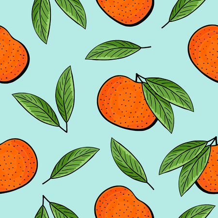 tangerine: Seamless tangerines and green leaves pattern on blue background. Tangerine with leaves vector illustration. Great for textile, wallpaper, wrapping paper and more.