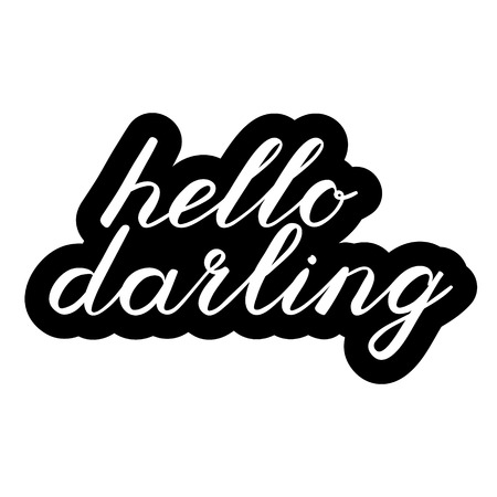 the darling: Hello darling brush lettering. Cute handwriting, can be used for greeting cards, scrapbooks, photo overlays and more. Illustration