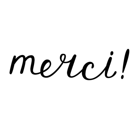 merci: Merci, thank you in French. Playful brush hand lettering. Brush calligraphy. Handwritten word in French. Illustration
