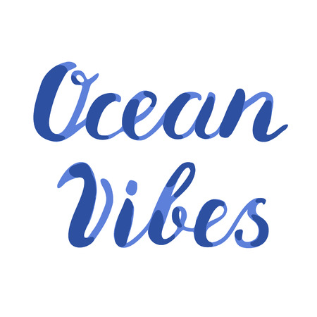 vibes: Ocean vibes lettering. Brush hand lettering. Handwritten words ocean vibes. Great for beach tote bags, swimwear, holiday clothes, and more. Illustration
