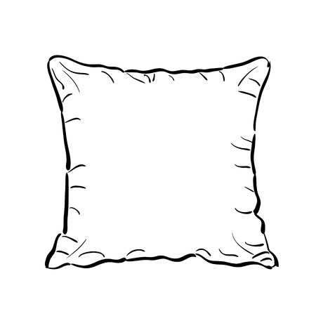 to toss: Throw pillow sketch isolated on white background. Sofa toss pillow sketch. Illustration