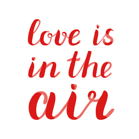 Love is in the air lettering. Brush hand lettering. Great for beach tote bags, swimwear, holiday clothes, pillowcases, posters, cards, and more.