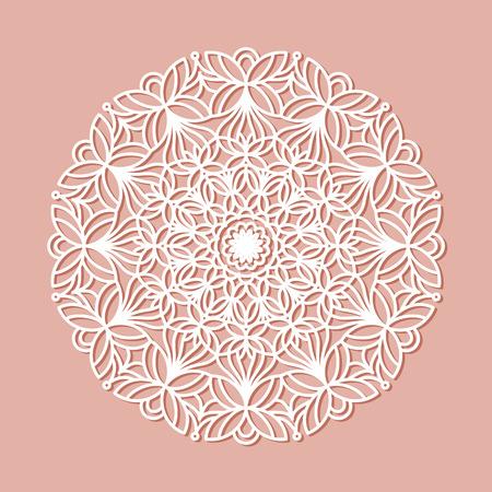 Beautiful mandala lace ornament for cards or invitations. Mandala round element. Vector illustration